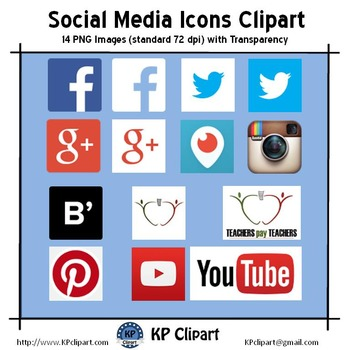 Freebie: Social Media Icons Clipart - Instagram, Facebook,