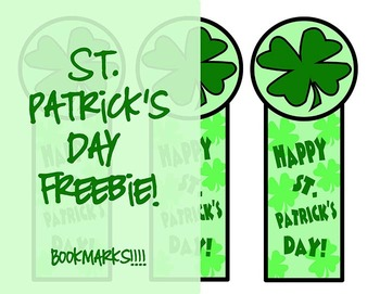 Freebie! St. Patrick's Day Bookmarks~A gift that promotes