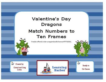 Freebie St. Valentine's Day Dragons - Matching Numbers to