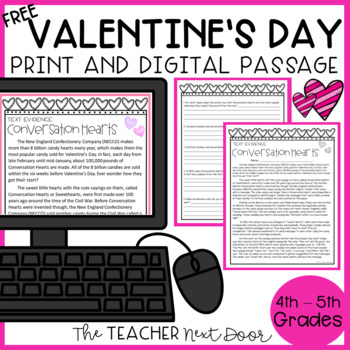 Freebie: Text Evidence for Conversation Hearts for 4th - 5