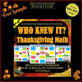 Freebie Thanksgiving Math -Who Knew It? Series