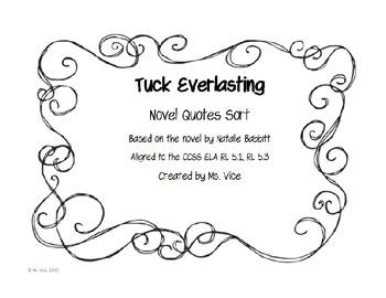 Freebie Tuck Everlasting Novel Quote Sort!