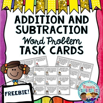 Freebie: Word Problems for Addition and Subtraction Task Cards