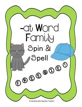 Freebie -at Word Family Game (Kindergarten Word Work Printable)