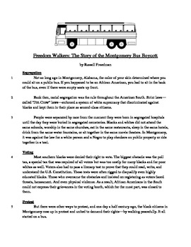 Freedom Walkers - Informational Text Test Prep