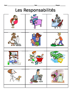 French 1 House Chores Vocabulary Notes