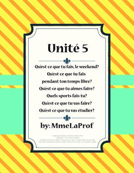 French 1, Unit 5, Mes Passe-temps (5th of 5 units)
