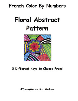 French Abstract Flower Patterns Color By Numbers