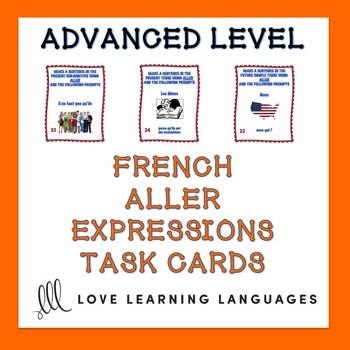 French Aller Expressions Task Cards - Advanced Level - Car