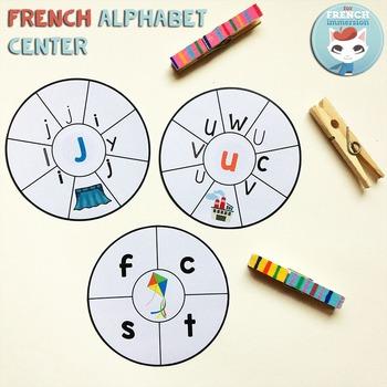 French Alphabet Center - Round Clip Cards
