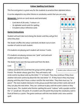 French Alphabet Colour Spelling Game
