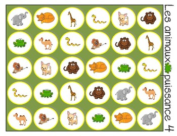 French Animals Connect 4 - Puissance 4, animaux du zoo
