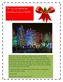 French Authentic Task-Shopping for a Christmas Present (No