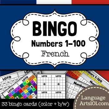 French Bingo Numbers 1-100 (Loto des numéros 1-100)
