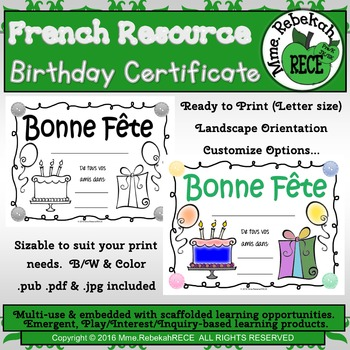 French Birthday Certificate for your students. Customize i