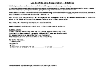 Core French Bitstrip Assignment on Cooperation and Conflict