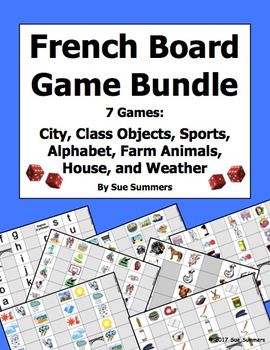 French Games Bundle of 7 - Animals, Weather, City, House,