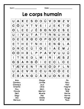 French Body Parts Word Search Puzzle - Mots cachés sur le