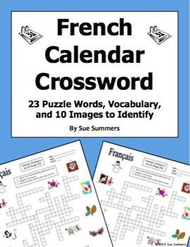 French Calendar Crossword Puzzle, IDs, and Vocabulary - Da