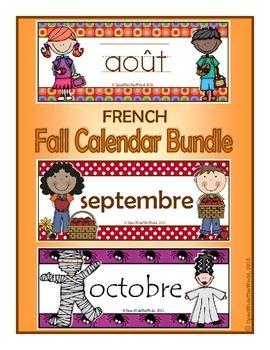 French Calendar Pocket Chart Bundle for Fall