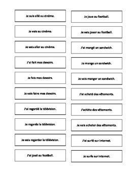 French Teaching Resources. Cards: Present, Perfect & Near
