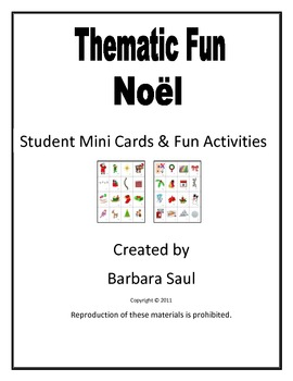 French Christmas-Noël Vocabulary Mini Student Cards and Fu