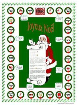 French Christmas-Noël Vocabulary Père Noël Game Board