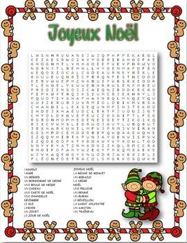 French Christmas Word Search ~ Joyeux NoëlWord Search