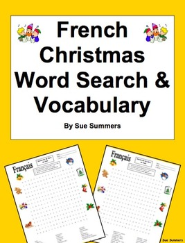 French Christmas Word Search Puzzle Worksheet and Vocabulary