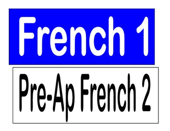 French Class Activity and Objectives Labels for White Boar