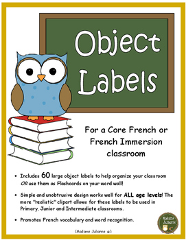French Classroom Labels (les affiches) Core French and Fre