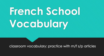 French Classroom Vocabulary : vocab with sing./pl. definit