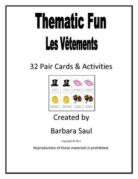 French Clothing-Les Vêtements Vocabulary Pair Cards and Ac