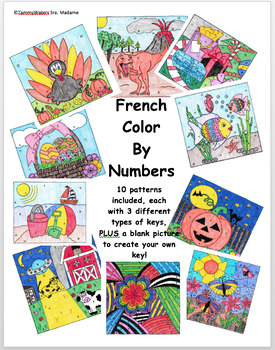 French Color By Numbers Set of 10