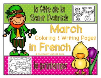 French Coloring & Writing for March: St. Patrick's Day & S