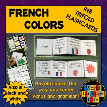 French Colors Interactive Notebook Trifold Flashcards, Les