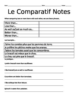 French Comparative Notes