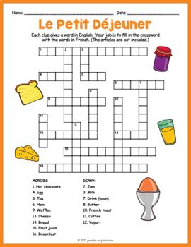 French Breakfast Vocabulary Crossword: Le Petit Déjeuner
