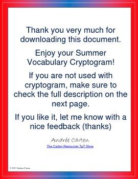 French Cryptogram - Summer Vocabulary