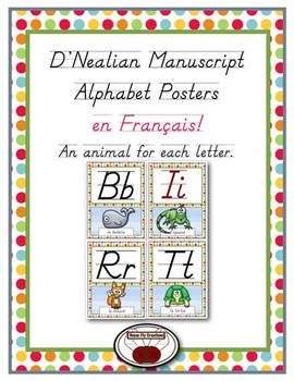 French D'Nealian Alphabet Posters