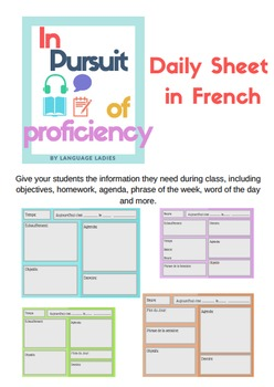 French Daily Information/Agenda Sheet