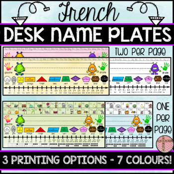 FRENCH DESK NAME PLATES - THREE PRINTING OPTIONS AND 7 COL
