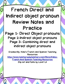 French Direct and Indirect Object Pronouns Review Notes/Co
