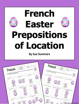 French Easter Prepositions of Location Easter Bunny and Eg