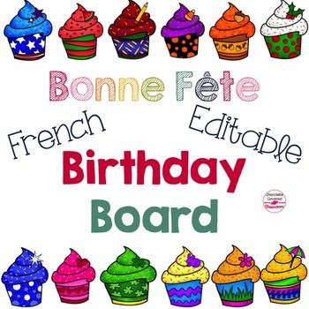French Editable Birthday Board- Bonne Fête