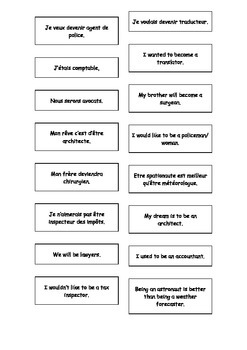 French - English Matching Cards: Jobs Teaching Resources.