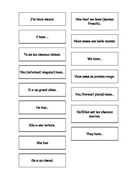 Teaching Resources. French - English Matching Cards: conju