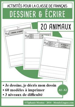 French/FFL/FSL - Draw and write - Animals