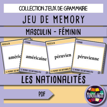 French/FFL/FSL - Games - Memory - Nationalities