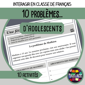 French/FFL/FSL - Role play - Teenagers Problems